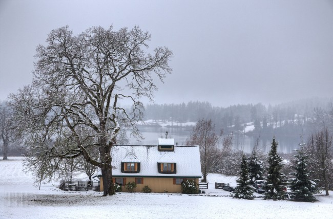 Snow Covered Home - Cowichan Valley, Vancouver Island, BC, Canada