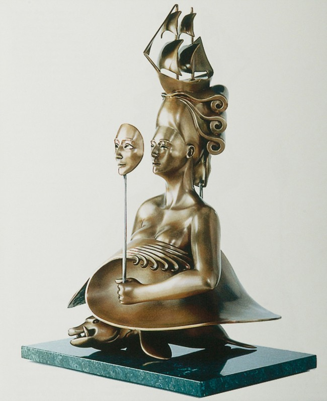 31 inches, 79cm. tall. Bronze and stainless steel on green marble.2005