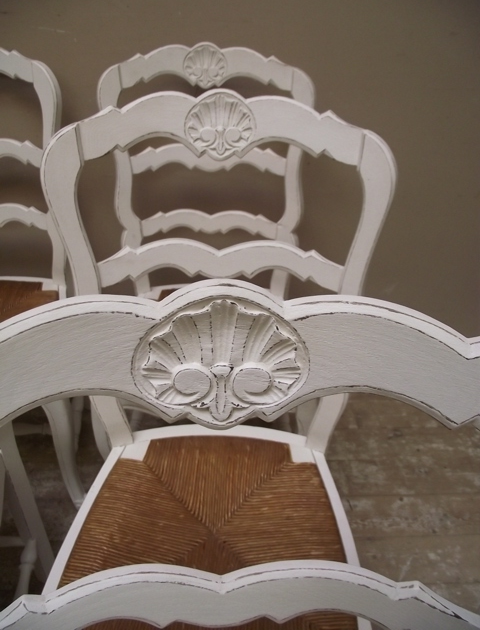 Provencal style French rush seat chair carving detail