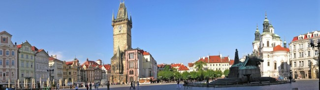 Panorama of Old Town Square with Old Town City Hall and memory of Jan Hus