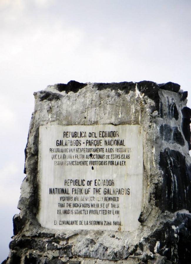 Plaque designating national park status in the Galapagos.