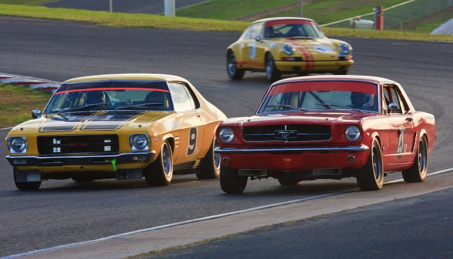#9 Matthew Obrien 1972 Holden Monaro HQ GTS & #23 Cameron Tilley 1964 Ford Mustang