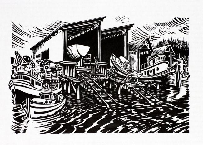"""""""yard, foot of Bidwell"""" lino print 12 x 18"""""""