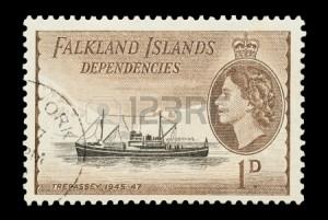 MV Trepasssey depicted on a Falkland Islands stamp.