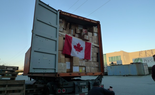 The first Freedom Factory container of 2014 - From Surrey to Syria