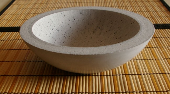 Concrete bowl using Kast Krete and some charcoal iron oxide to color it.