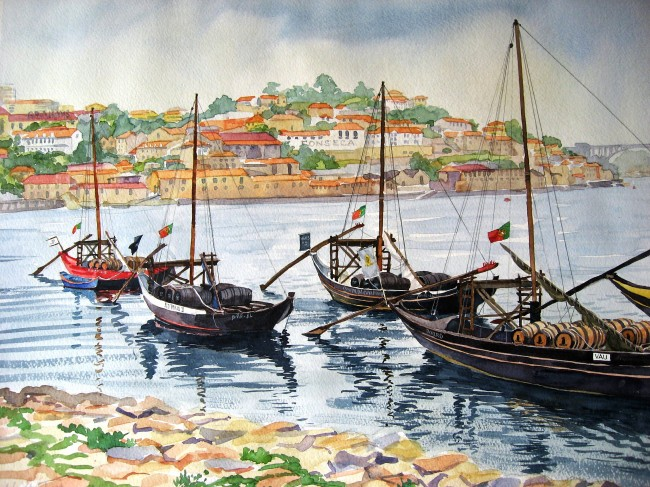 """Barcos Rabelos, Porto"", Watercolour, 16""x20"", Nov., 2012"