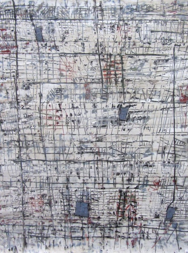 Urban Winter; encaustic on wood; A. Bettas 2014.