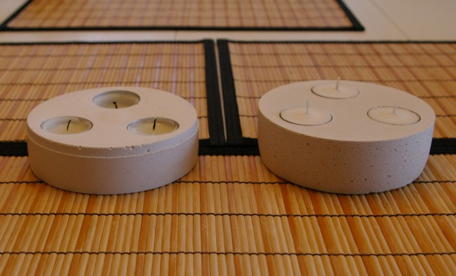 First and Second Concrete Tea Lights