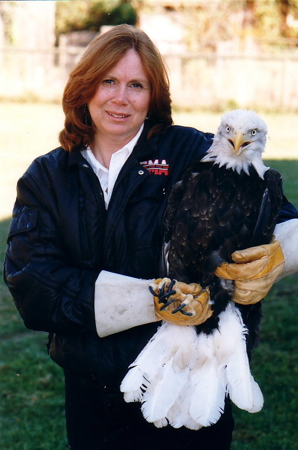 Sylvia Campbell holding Eagle