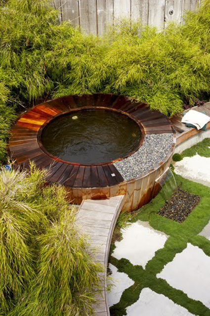 Life as a human outdoor water features create a soothing for Outdoor pond tub