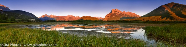 Low Water & Alpine Glow on Rundle © Ron Hallam