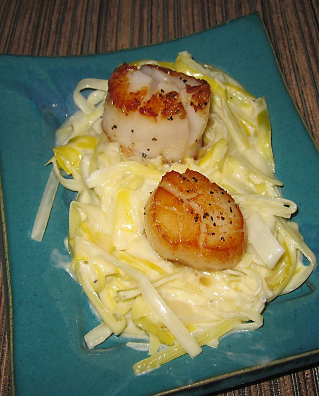 Scallops With Truffle Creamed Leeks - The finished product