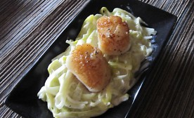 Scallops with truffle creamed leeks appetizer