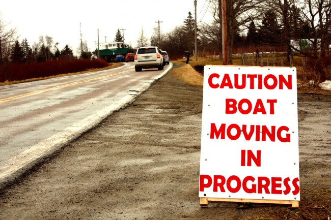 Sign for boat moving
