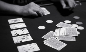 A person playing the poker variant, Texas Hold'em