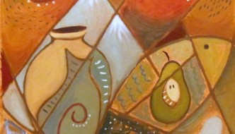Still With Vase Pear and Fish