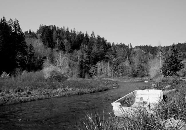 Empty boat in winter