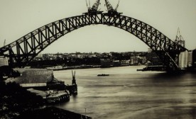 The bridge nears completion in the 1930's