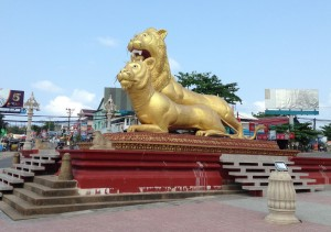 The Golden Lions Roundabout in Sihanoukville
