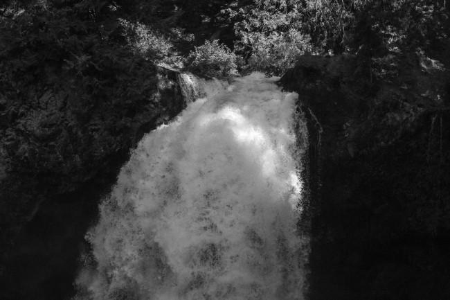 Waterfalls with light stripe