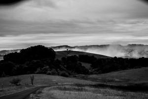 Morning Fog Drifting Over the Race Location