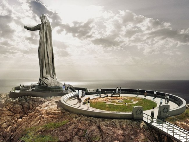 "One of the many components of a large war memorial planned for the Highlands National Park on Cape Breton Island is a statue called ""Mother Canada"" (Never Forgotten National Memorial Foundation)"