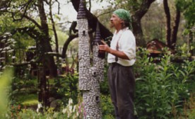 Eddie Foisy building one of the castles. His work is in collectors gardens throughout the United States.