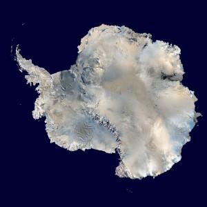 A satellite composite image of Antarctica