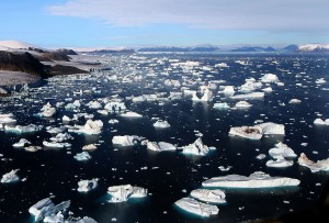 Icebergs breaking off glaciers at Cape York, Greenland
