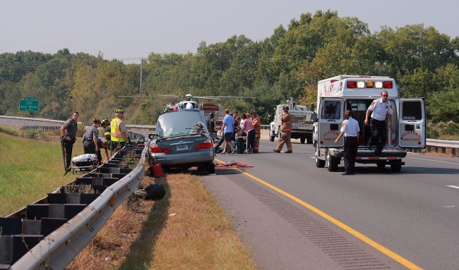 The scene of a traffic accident