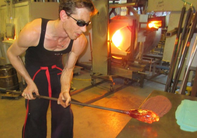 Eric Davy, glassblower makes a funeral urn