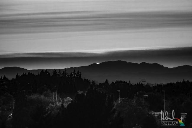 Sunrise on the ridge - bw