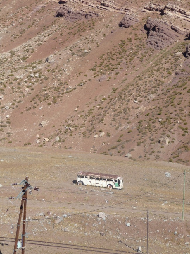 Bus wreck in the Andes