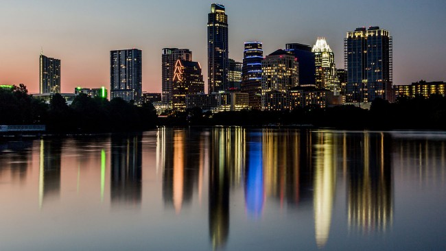 The Austin cityscape as seen from the new boardwalk on Lady Bird Lake