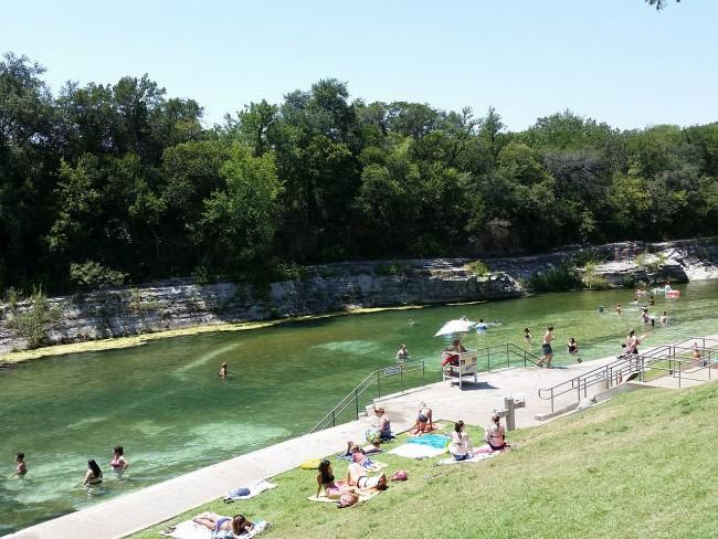 Barton Springs community swimming pool in Austin, TX