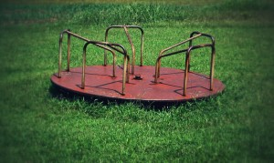 The old rusty merry-go-round