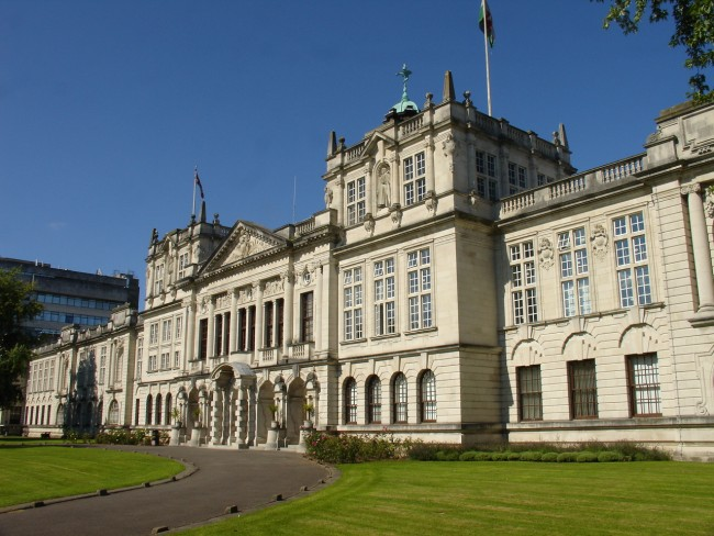 The main building of Cardiff University