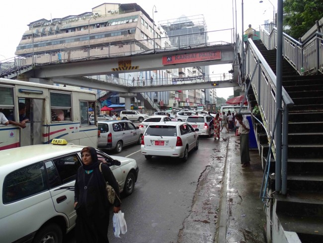 Downtown Yangon street scene