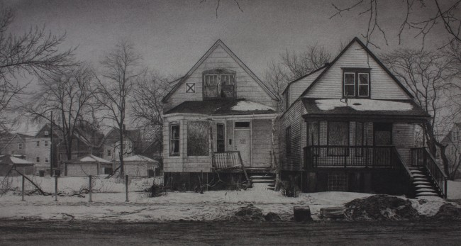 """What was Once a Home (South Carpenter Street), 13"""" x 24"""", Carbon pencil on toned paper, 2015"""