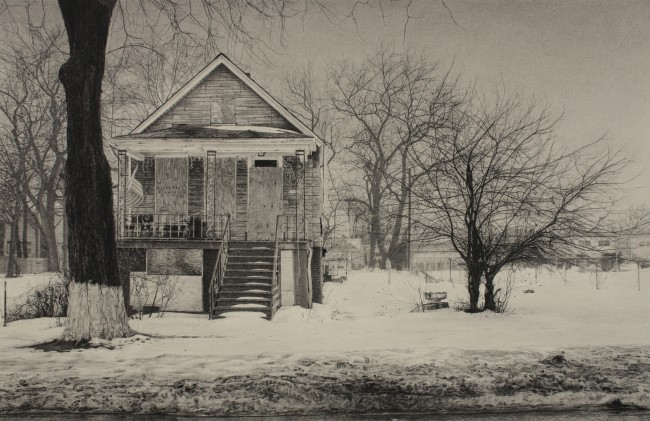 """What was Once a Home (South Throop Street), 17"""" x 25.5"""", Carbon pencil on toned paper, 2015"""