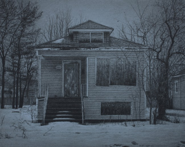"""What was Once a Home (West 70th Place), 8"""" x 10"""", Carbon pencil on toned paper, 2014"""