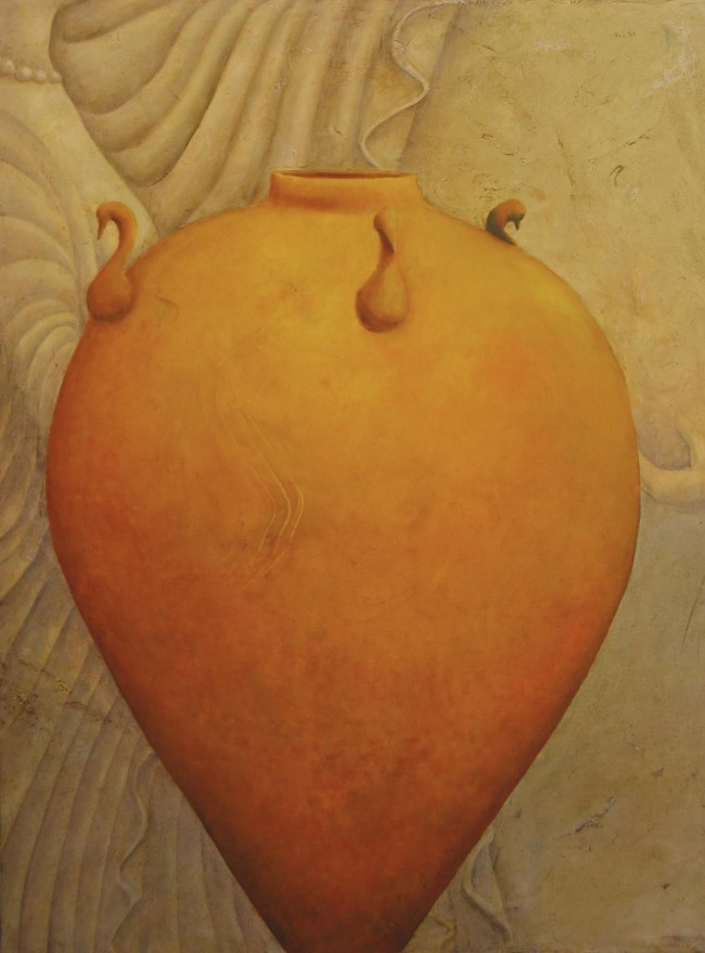 "Yellow Urn   2014   oil on canvas   40x30"" @ Laurie Goodhart"