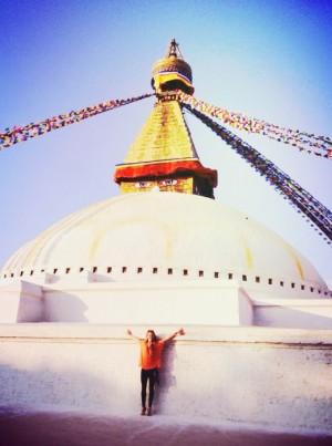 Boudhanath, one of the largest stupas in the world, nestled in Kathmandu.