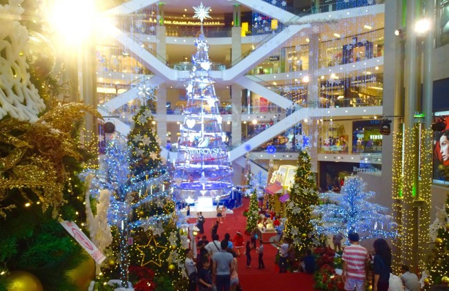 The shopping centres in this Muslim city have all the Christmas glitter and more that we've come to expect in Christian countries