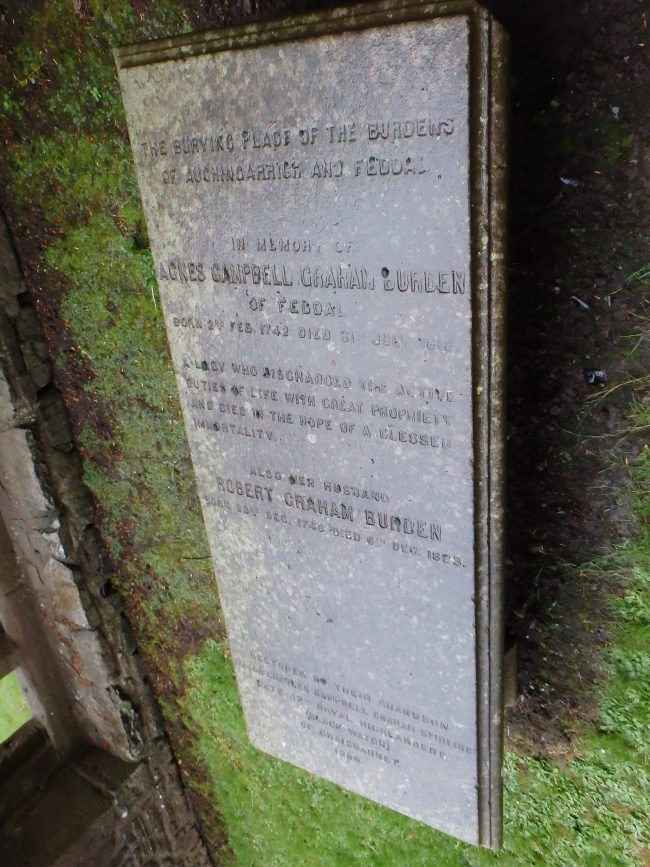 Tombstone of Robert and Agnes Burden.