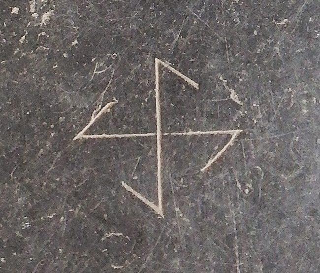 The Norse sun cross on the church floor in Monnikendam.