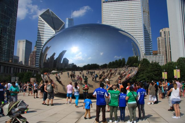 The Cloud Gate sculpture at Millennium Park