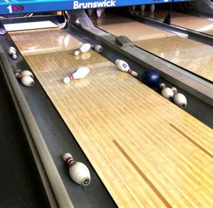 Bowling lane with pins