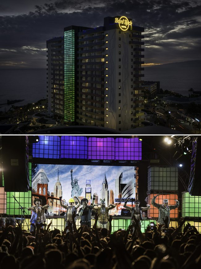 The Hard Rock Hotel Tenerife at Sunset and The Village People